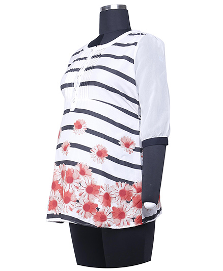 Kriti Three Fourth Sleeves Maternity Tunic Floral Print - White