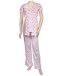 Maternity Uzazi Maternity Short Sleeves Nursing Nightwear Set - Pink