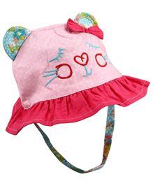 Babyoye Polka Dot Cat Face Cap With Velcro Strap - Pink