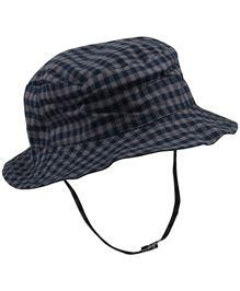 Babyoye Checked Pattern Cap With Velcro Strap - Navy Blue