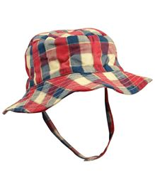 Babyoye Check Cap With Velcro Strap - Red Yellow