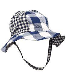 Babyoye Checked Pattern Cap With Velcro Strap - White Navy Blue