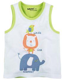 Babyoye Animals Print Sleeveless T-Shirt - White & Green