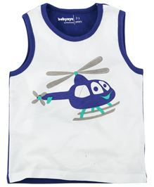 Babyoye Chopper Print Sleeveless Tee - Dark Blue & White