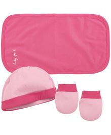 Babyoye Cap With Mittens & Burp Cloth - Pink (NB)