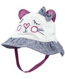 Babyoye Cat Face Cap With Velcro Strap - White Grey