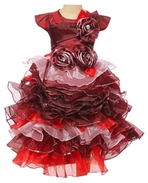 Revachi Short Sleeves Layered Party Frock - Maroon
