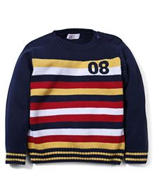 M&M Infant Full Sleeve Sweater With Embroidery - Yellow & Navy