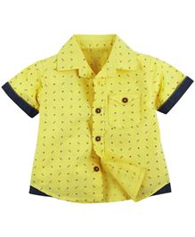 Printed Half Sleeve Shirt - Yellow (12 - 18 M)