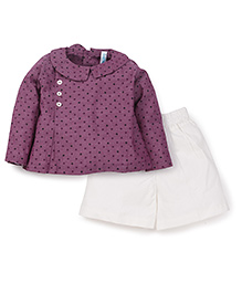 Snuggles Full Sleeves Shirt With Shorts Star Print - Purple White