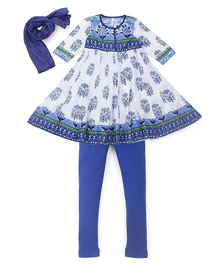 Lil' Posh Full Sleeves Anarkali Dress With Leggings And Dupatta - Blue