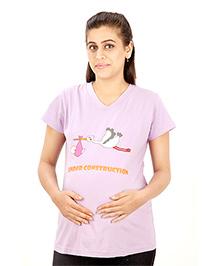 Uzazi Half Sleeves Maternity T-Shirt - Lavender