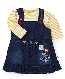 Fisher Price Apparel Dungaree Skirt With Tee Print - Blue & Yellow
