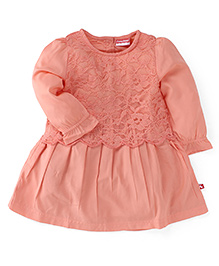 Fisher Price Apparel Lace Detailed Full Sleeves Dress - Peach (12 - 18 M)