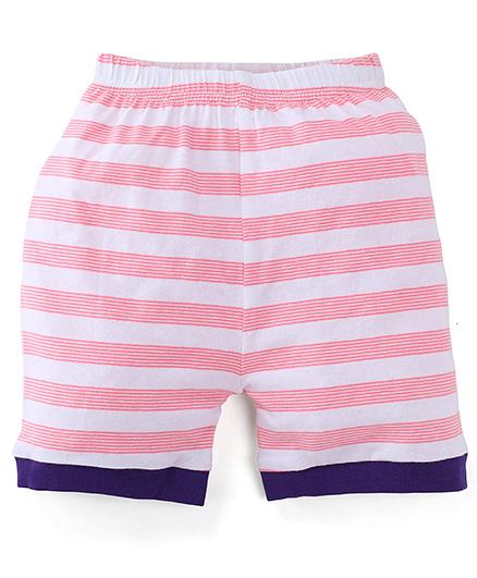 Snuggles Stripe Shorts - Light Pink White