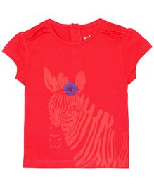 Baby Pure Cap Sleeves T-Shirt With Print - Red