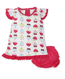 Snuggles Cap Sleeves Frock With Bloomer Cup Cake Print - Off White Dark Pink