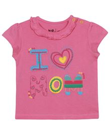 Baby Pure Cap Sleeves T-Shirt With Print - Pink