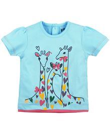 BabyPure Infant Top With Giraffe Print - Light Blue