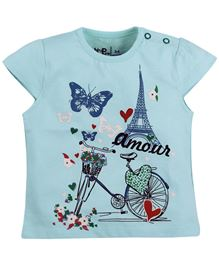 Baby Pure Cap Sleeves T-Shirt With Print - Light Blue
