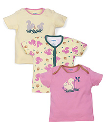 Snuggles Half Sleeves T-Shirts Pack of 3 - Pink Yellow