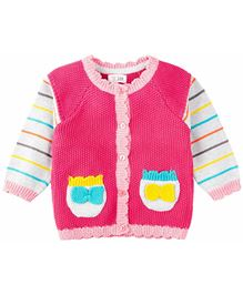 M&M Full Sleeve Sweater With Pockets - Pink