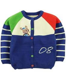 M&M Full Sleeves Round Neck Sweater With Embroidery - Navy