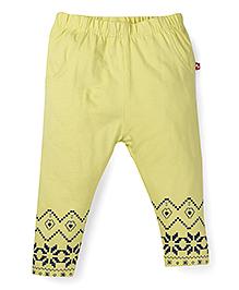 Babyoye Full Length Leggings With Hem Print - Greenish Yellow