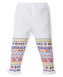 Babyoye Legging With Printed Frill Hem - White