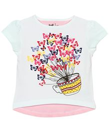 Baby Pure Cap Sleeves T-Shirt With Print - White Pink