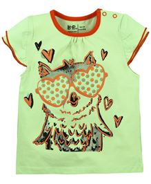 Baby Pure Cap Sleeves T-Shirt With Print - Green