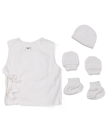 M&M Sleeveless Jhabla Vest With Caps Mittens Booties Set - White