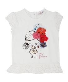 M&M Short Sleeves Top Pretty Flowers Print - White