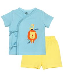 Baby Pure T-Shirt And Shorts Set Printed - Blue And Yellow