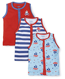 Snuggles Sleeveless Vests Pack of 3 - Red Blue White