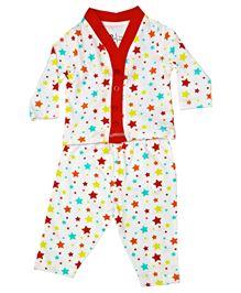 BabyPure Full Sleeves Nightwear Set - Off White & Coral Red
