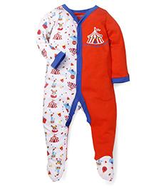 Snuggle Full Sleeves Printed Romper Style Sleepsuit - White Red
