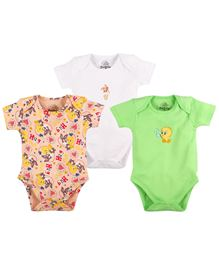 Warner Bros Half Sleeves Bodysuit Pack Of 3 - Multi Colour