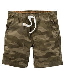 Carters Camo Style Woven Shorts With Drawstring - Khaki