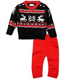 Babyoye Infant Full Sleeves Sweater Set - Navy & Red