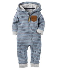 Carter's Full Sleeves Hooded And Zippered Romper - Grey