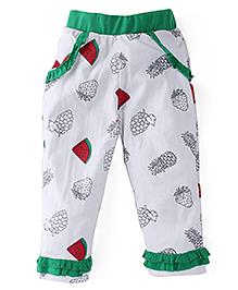 Snuggles Full Length Leggings Fruit Print - Green White