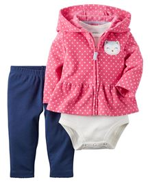 Carters Onesie Pant And Cardigan Set - Pink White And Navy
