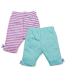 Snuggles Three Fourth Leggings Pack Of 3 - Pink Blue