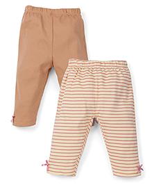 Snuggles Full Length Leggings Pack of 2 - Brown Yellow