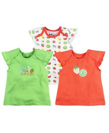 BabyPure Infant Cap Sleeves Pack Of 3 Top - Coral Green Whit