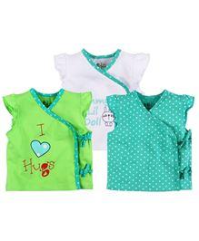 BabyPure Infant Pack Of 3 Jhablas - Aqua Green White