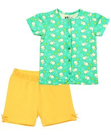 Baby Pure Top And Shorts Set - Green And Yellow