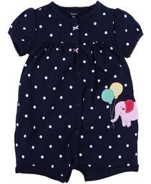 Carters Short Sleeves Romper Polka Dot Print & Elephant Applique - Navy Blue