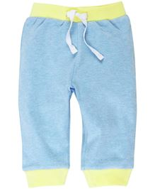 Babyoye Solid Pattern Leggings With Ribbed Hem - Sky Blue